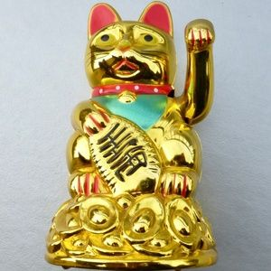 Other - Feng Shui Waving Golden Lucky Cat Figurine
